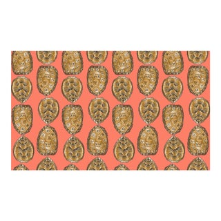 Turtle Shell Salmon Linen Cotton Fabric, 6 Yards For Sale