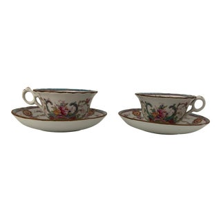 Antique Cauldon English Fine China Set of 2 Teacups & Saucers For Sale