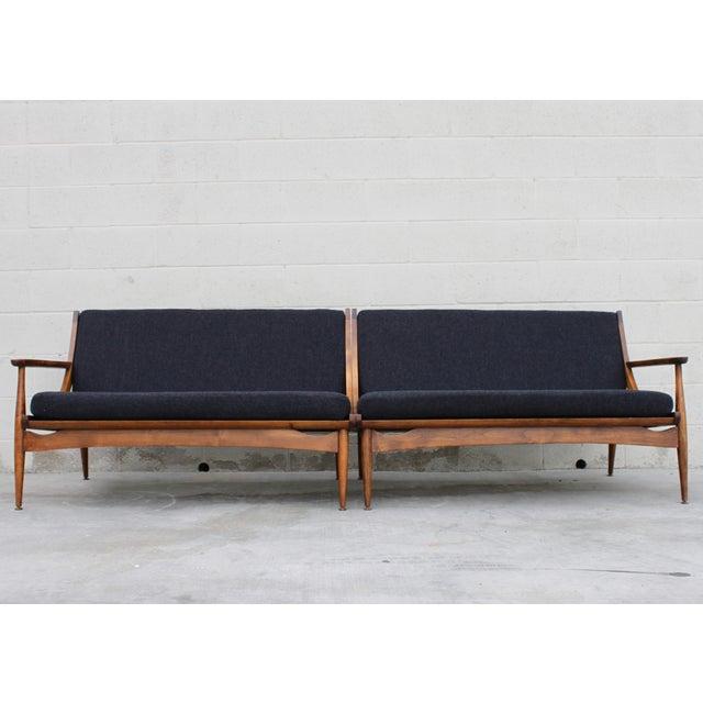 Walnut Danish Minimalist Spindle Back Sectional Sofa - Image 6 of 11