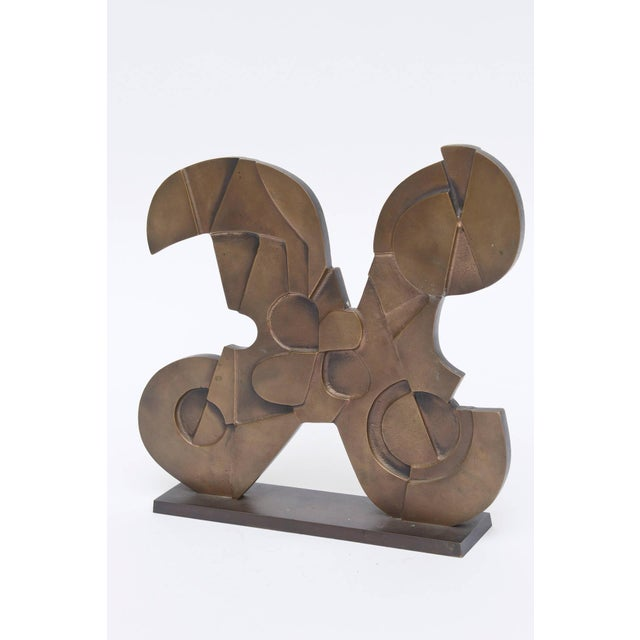 Signed Italian Consagra Abstract, Modernist and Cubist Bronze Sculpture - Image 3 of 10