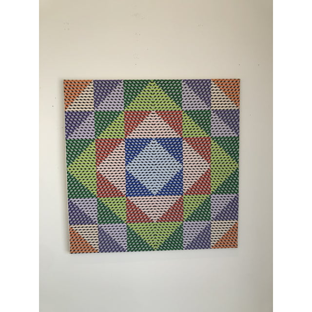 Green 1980s Gabe Silverman Abstract Op Art Painting on Canvas For Sale - Image 8 of 10