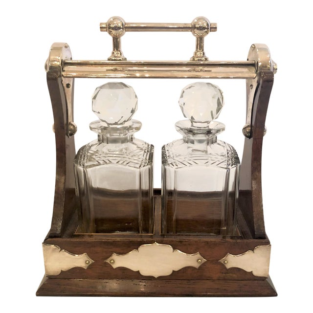 Antique English Tantalus With Sheffield Silver Mounts, Circa 1910. For Sale