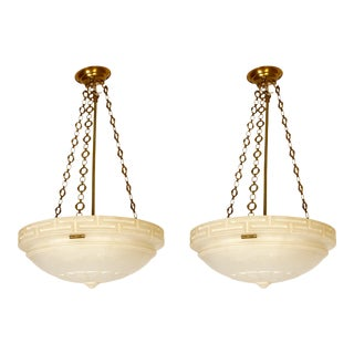 Neoclassical Style Alabaster Ceiling Lights - A Pair For Sale