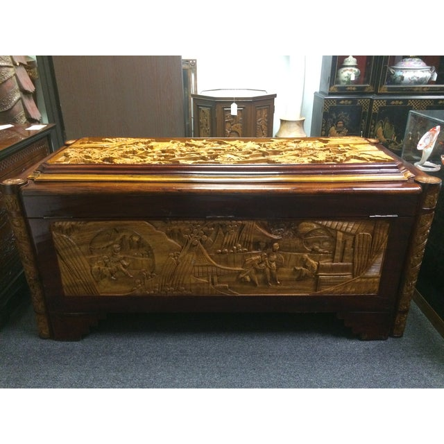 Ornate Hand-Carved Asian Chest For Sale - Image 4 of 11