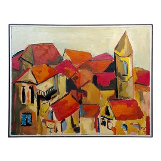 Fay Singer California Red Roofs -Expressionist Oil Painting For Sale