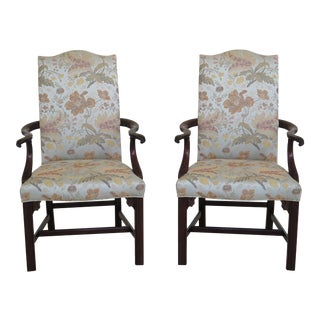 Pair of Henkel Harris Chippendale Mahogany Open Arm Library Chairs