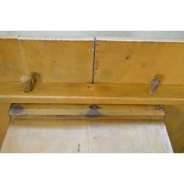 *STORE ITEM #: 16510 Antique Primitive Yellow Painted Pine Hutch Table Bench AGE / ORIGIN: Approx. 200 years, America...