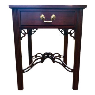 1980s Ethan Allen Cherry Chippendale Side Table For Sale