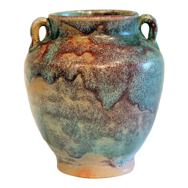 Vintage 1940s Pottery Arts & Crafts Jugtown Flambe North Carolina Chinese Jun Vase For Sale