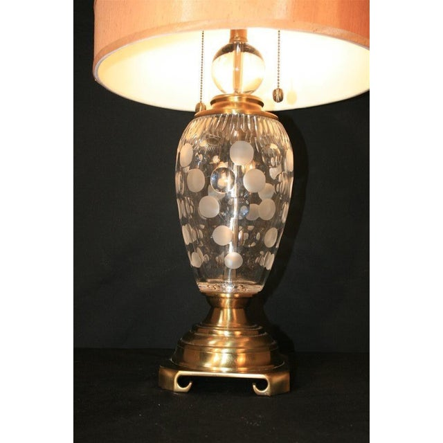 Dale Tiffany Etched Crystal Glass & Brass Table Desk Lamp With Shade Decorator For Sale - Image 10 of 11