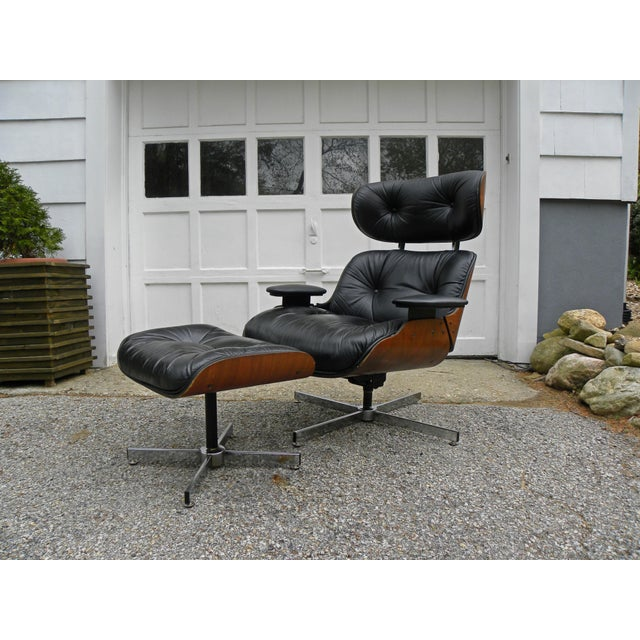 Vintage Plycraft Mid Century Vintage Leather Lounge Chair & Ottoman For Sale - Image 10 of 11