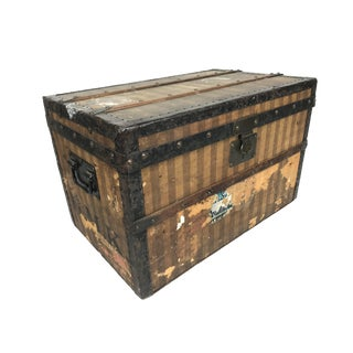 1880 French Louis Vuitton Antique Rayee Child's Steamer Trunk For Sale