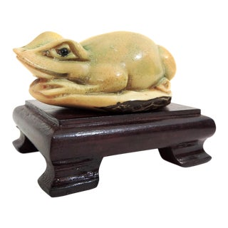 Hand Carved 'Netsuke' Frog on Wooden Stand For Sale