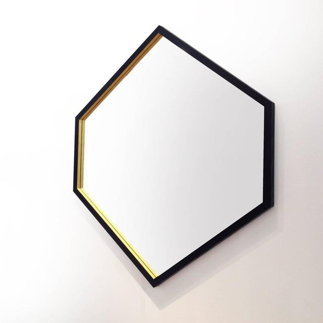 Contemporary Hex Gilt and Laquered Geometric Mirror by Alex Drew and No One For Sale - Image 3 of 3