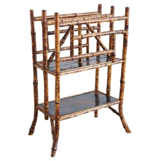 English Chinoiserie Bamboo Canterbury Magazine Stand For Sale