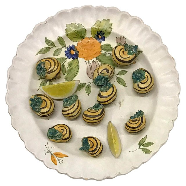 Mid-20th Century Italian Trompe-L'œil Plate of Escargots For Sale - Image 10 of 11