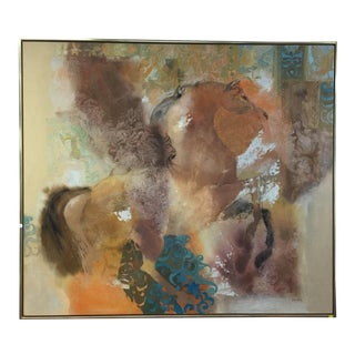 """Vintage Mid Century """"Equis"""" Abstract Oil on Canvas by Glyn Jones For Sale"""