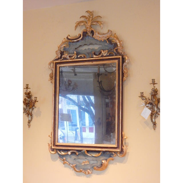 Beautiful Early 19th century Italian Rococo painted and gold gilt mirror.