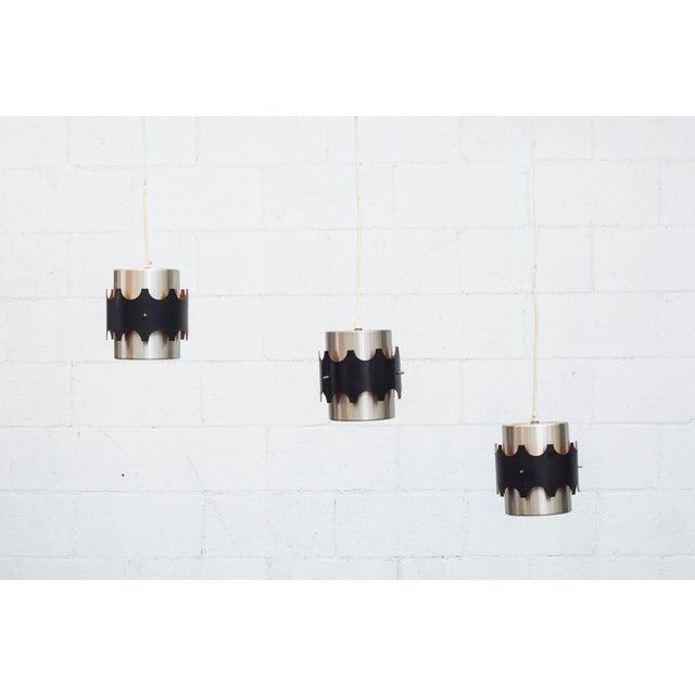 Hoogersvort Style Spun Aluminum & Black Cylinder Pendants - Set of 3 - Image 2 of 6