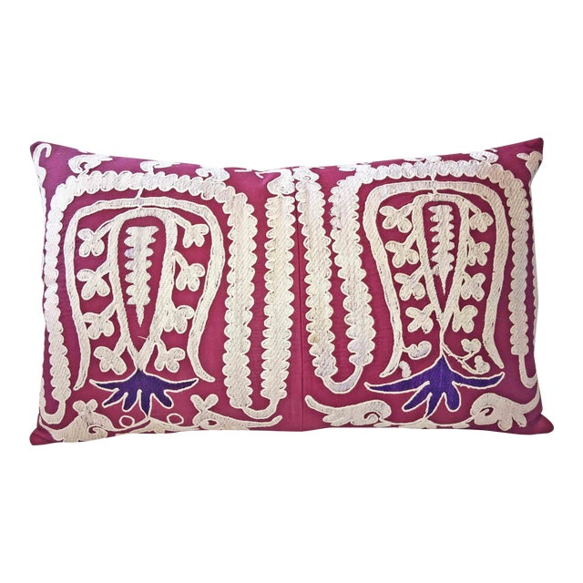 87 Year Old Vintage Hand Embroidered Samarkand Pillow For Sale