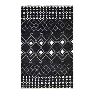 Vinay, Bohemian Moroccan Hand Knotted Area Rug, Black, 9 X 12 For Sale