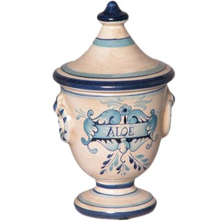 Italian Handpainted Ceramic Aloe Urn For Sale