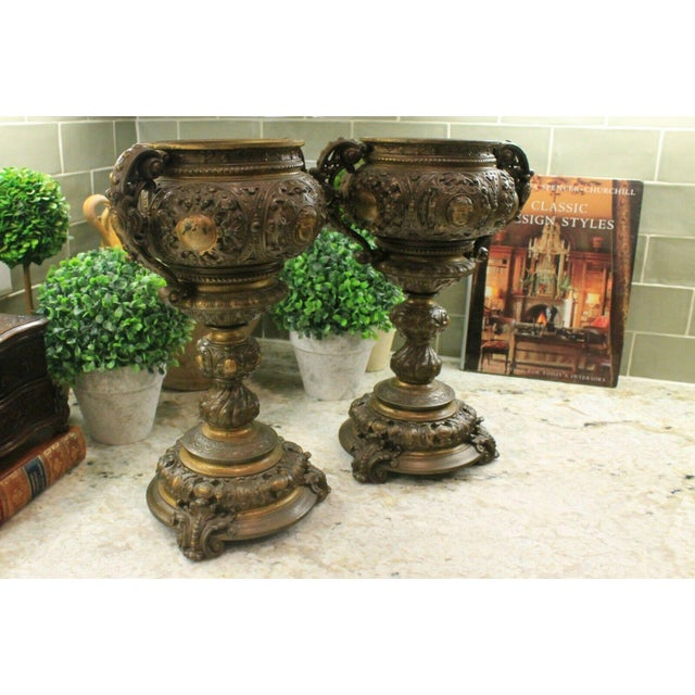 Late 19th Century Antique French Spelter Planters Urns Jardinieres Vases Renaissance - a Pair For Sale - Image 5 of 13