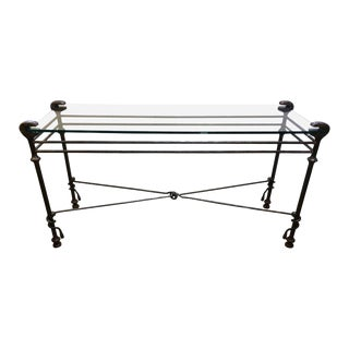 Giacometti Style Iron & Glass Console Table