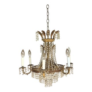 20th Century Hollywood Regency Crystal and Brass Six Arm Chandelier For Sale