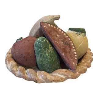 Vintage Terra Cotta Plaster Bowl With Fruit Ornaments - 7 Piece Set For Sale