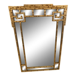 1960s Giltwood Greek Key Faux Bamboo Wall Mirror For Sale