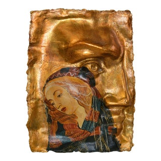 Gothic Botticelli Madonna of the Magnificat Face Mold Gold Papier-Mâché Hanging Art For Sale