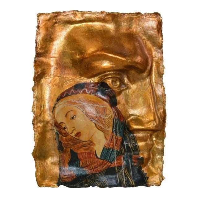Gothic Botticelli Madonna of the Magnificat Face Mold Gold Papier-Mâché Hanging Art For Sale