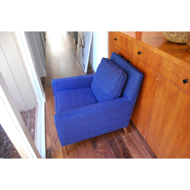 Vintage Mid-Century Modern Navy Wool Arm Chair For Sale - Image 4 of 5