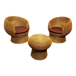 1970's Modernist Wicker Patio Set With Two Lounge Chairs and One Side Table For Sale