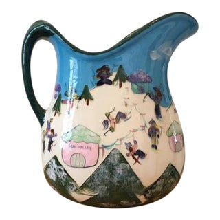 Vintage Sun Valley Idaho Pottery Pitcher For Sale