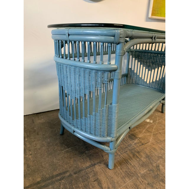 Wicker Rattan and Wicker Console Table and Mirror For Sale - Image 7 of 8