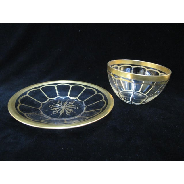 Vintage Mid Century Gold Gilt Glass Cream Soup Bowl & Saucer- 8 Pieces For Sale In Portland, OR - Image 6 of 8
