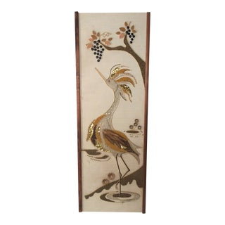 Mid-Century Modern Golden Egret Rock Gravel Art For Sale