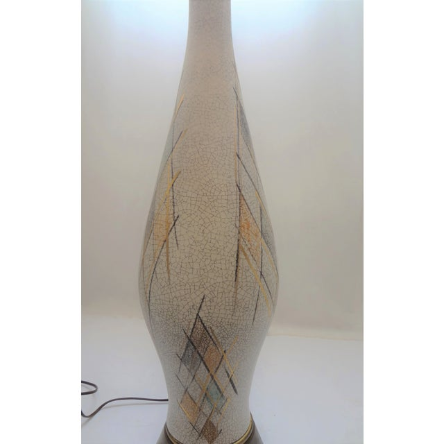 Mid-Century Modern Tall Crackle Ceramic Table Lamp For Sale - Image 4 of 10