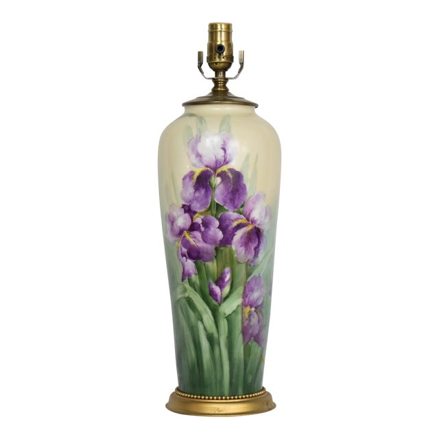 Restored Early 20th Century Austrian Hand Painted Iris Lamp. For Sale