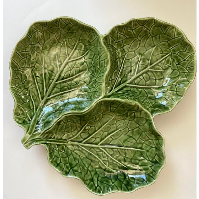 Mid-Century Modern Green Cabbage Leaf 3 Part Serving Platter Made in Portugal For Sale - Image 3 of 11