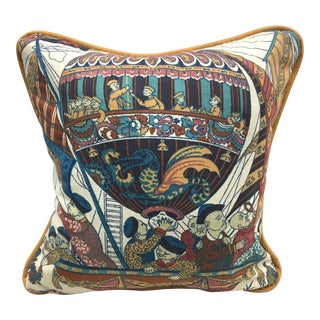 """""""Chinese Astronauts"""" Petite Tan Leather Cording Accent Pillow"""