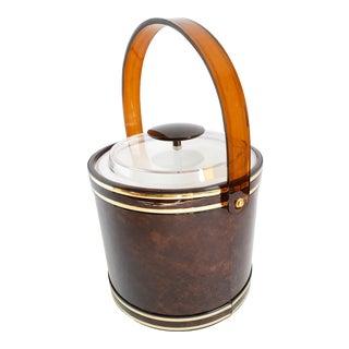 Mid Century Modern Brown Tortoise Vinyl & Lucite Ice Bucket For Sale