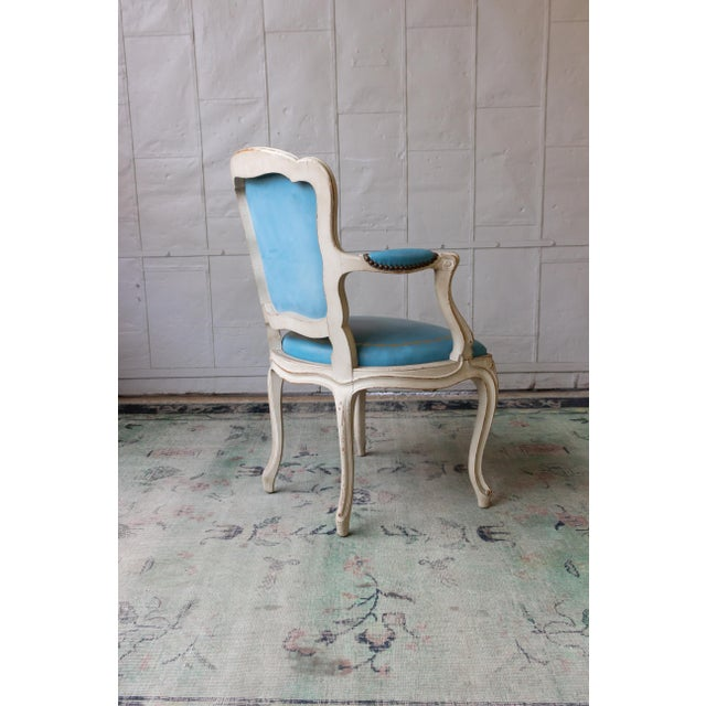 1960s Louis XV Style Blue Leather Armchairs - Set of 4 For Sale - Image 9 of 12