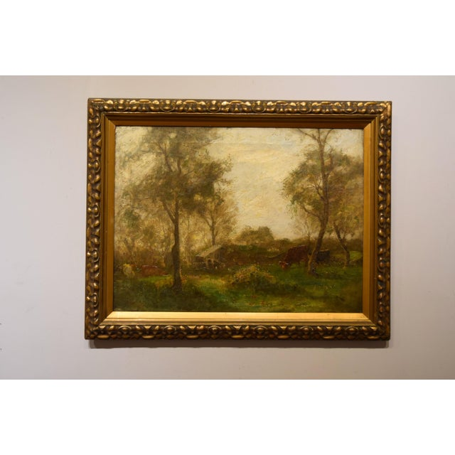 "Green Oil on Canvas-""Impressionist Landscape"" Signed Edwin Bottomley, Dated 1902 For Sale - Image 8 of 8"