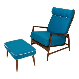 Ib Kofod-Larsen High Back Lounge Chair and Ottoman - a Pair For Sale