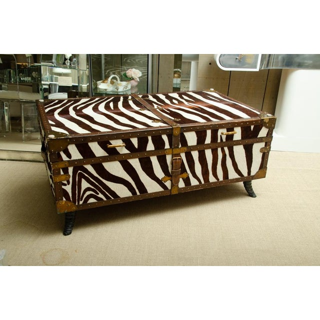 French Trunk/Cocktail Table Covered in Zebra For Sale - Image 9 of 11