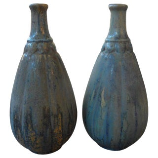 1920's Pierrefonds French Glazed Pottery Vases - A Pair For Sale