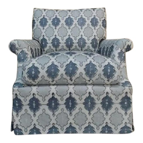 O. Henry House Blue & White Patterned Club Chair - Image 1 of 6